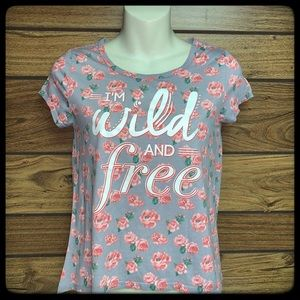 Fifth Sun girls junior top size L gray floral